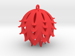 Pierced Thistle Ball in Red Processed Versatile Plastic