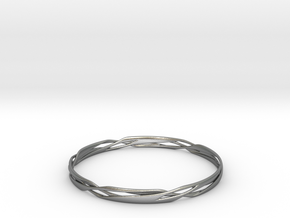 Stripes Bangle in Natural Silver
