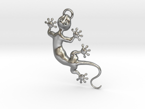 Cute Little Gecko Pendant for Animal Lovers in Natural Silver