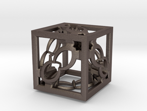 Cube Fractal RD8 in Polished Bronzed Silver Steel