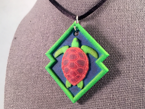 Sea Turtle Pendant in Natural Full Color Sandstone