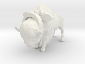 HO Scale Bison with Harness in White Natural Versatile Plastic