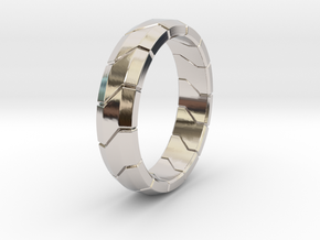 Combine Ring in Rhodium Plated Brass: 8 / 56.75