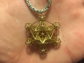 3d Metatron's cube pendant in Natural Brass