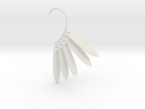 Cosplay Dangling Petal Charm Earring (style 1) in White Natural Versatile Plastic