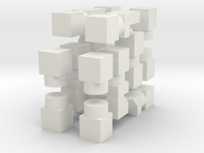 Cube Chess (Half Set) in White Natural Versatile Plastic