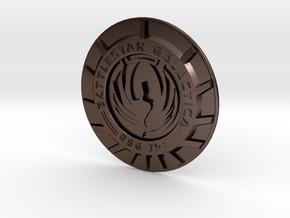 Battlestar Galactica Pin/Brooch Face  in Polished Bronze Steel