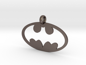 Batman necklace charm in Polished Bronzed Silver Steel