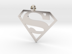 Superman necklace charm in Platinum