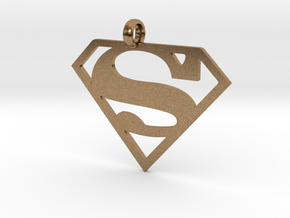 Superman necklace charm in Natural Brass