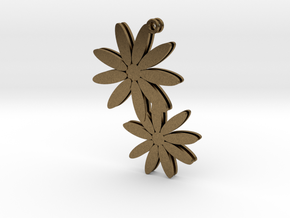 Daisy earrings - 1 pair in Natural Bronze