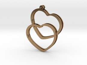 2 Hearts earrings in Natural Brass