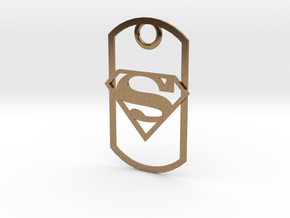 Superman dog tag in Natural Brass