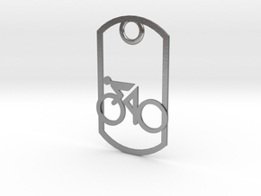 Cyclist - racing - dog tag in Natural Silver