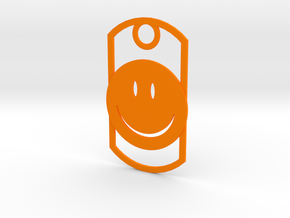 Happy face dog tag in Orange Processed Versatile Plastic