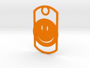 Happy face dog tag in Orange Processed Versatile Plastic
