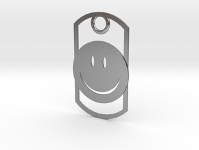 Happy face dog tag in Natural Silver