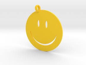 Happy face charm in Yellow Processed Versatile Plastic