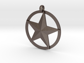 Star charm in Polished Bronzed Silver Steel