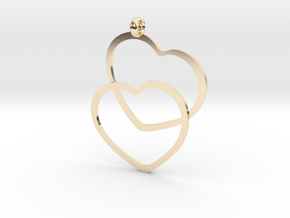 2 Hearts necklace pendant in 14K Yellow Gold