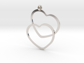 2 Hearts necklace pendant in Platinum