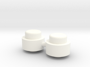 Adjustment Buttons - Plastic in White Processed Versatile Plastic