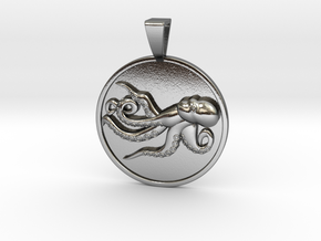 Playful Octopus Coin Pendant in Polished Silver