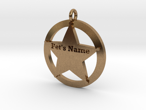 Revised 5 point sheriffs star pet tag in Natural Brass