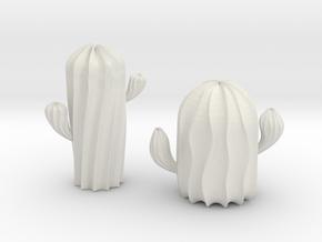 Cactus Sculpture in White Natural Versatile Plastic: Small