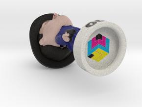3D Printed Selfie Fig in Natural Full Color Sandstone: Medium