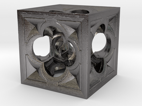 Fractal Menger Cube NH3 in Polished Nickel Steel