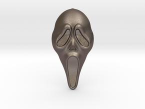 SCREAM Pendant ⛧ VIL ⛧ in Polished Bronzed-Silver Steel: Small