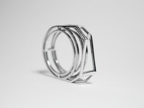 Silver Ring: 925 silver – statement, geometric in Fine Detail Polished Silver: 8 / 56.75