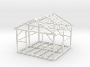 Wooden House Frame 1/100 in White Natural Versatile Plastic