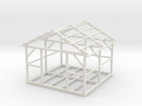 Wooden House Frame 1/76 in White Natural Versatile Plastic