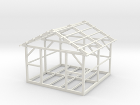 Wooden House Frame 1/43 in White Natural Versatile Plastic