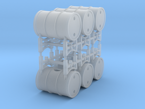 Drum rack with 3 drums - 2X - 1:72 in Smooth Fine Detail Plastic
