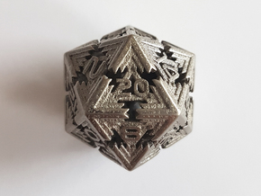 Cyber D20 in Polished Nickel Steel