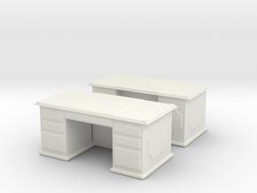 Office Wood Desk (x2) 1/87 in White Natural Versatile Plastic