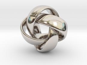 D Loop Pendant in Rhodium Plated Brass