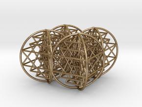 Super Optimal 4 Sided 3D Sri Yantra  in Polished Gold Steel