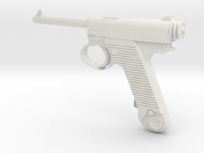 1/3 Scale Nambu Pistol in White Natural Versatile Plastic