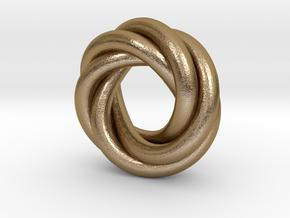 Quadruple Recursive Ring RH in Polished Gold Steel