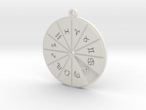 Leo - Zodiac Pendant in White Premium Versatile Plastic