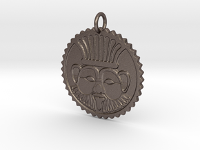 Bes amulet in Polished Bronzed-Silver Steel
