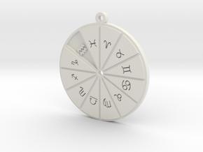 Aquarius - Zodiac Pendant in White Premium Versatile Plastic