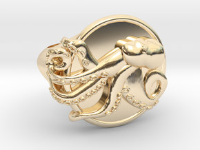 Playful Octopus Signet Ring Size 7.0 in 14K Yellow Gold