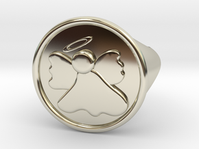 Dainty Angel Signet Ring Size 6.5 in 14k White Gold