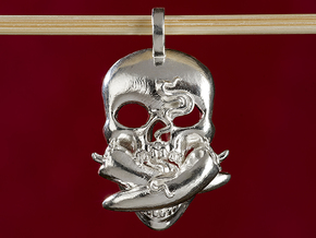 Hot chili peppers skull fire flame charm in Polished Silver