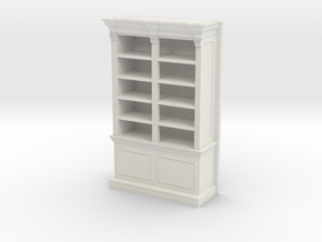 Miniature 1:48 Bookshelf in White Natural Versatile Plastic